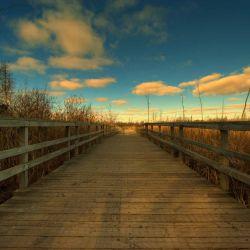 Glasbild Holzweg und bunter Himmel
