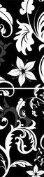 Glasbild Blumenmuster schwarz weiß