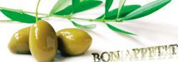 Glasbild Oliven zum Abendessen