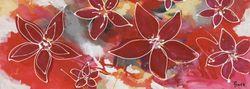 Glasbild Abstakte rote Blüten