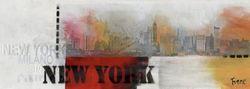 Glasbild New York Schriftzug mit Skyline
