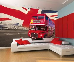 Fototapete London - Red Bus & Union Jack – Bild 2
