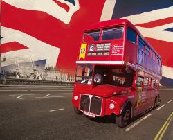 Fototapete London - Red Bus & Union Jack – Bild 1