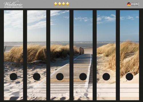 Ordnerrücken Sticker Auf dem Holzweg zum Strand – Bild 1