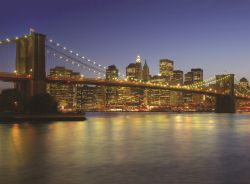 Fototapete New York - Brooklyn Bridge bei Abend – Bild 1