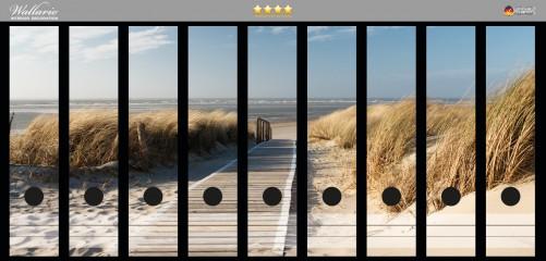 Ordnerrücken Sticker Auf dem Holzweg zum Strand