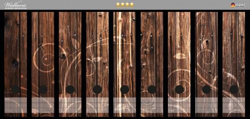 Ordnerrücken Sticker Braunes Holz mit Ornamenten