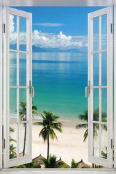 Poster Fenster zum tropischen Palmenstrand