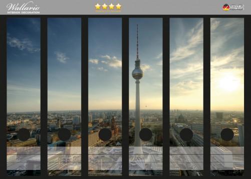 Ordnerrücken Sticker Fernsehturm Berlin mit Panoramablick über die Stadt