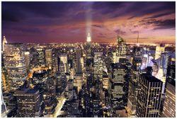 Vliestapete New York bei Nacht - Panoramablick über die Stadt – Bild 1