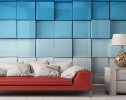 Vliestapete Blau-weiße Kisten, Schachteln, Muster – Bild 2
