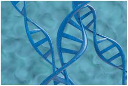 Vliestapete DNA-Strang in blau auf türkisem Hintergrund – Bild 1