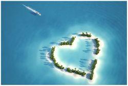 Vliestapete Insel mit Herz – Bild 1