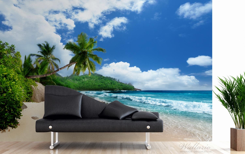 Vliestapete Urlaub auf den Seychellen unter Palmen am Sandstrand – Bild 3