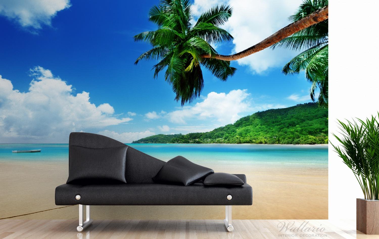 Vliestapete Urlaub am Palmenstrand unter Palmen mit Fischerboot – Bild 3