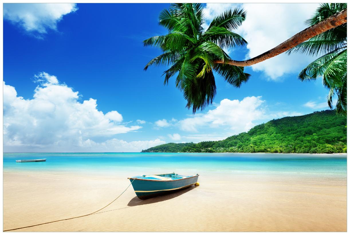 Vliestapete Urlaub am Palmenstrand unter Palmen mit Fischerboot – Bild 1