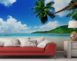 Vliestapete Urlaub am Palmenstrand unter Palmen mit Fischerboot – Bild 2