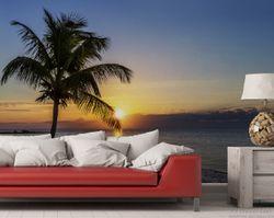 Vliestapete Palme am Strand - Sonnenuntergang über dem Meer – Bild 2