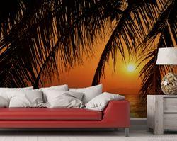 Vliestapete Sonnenuntergang unter Palmenblättern – Bild 2