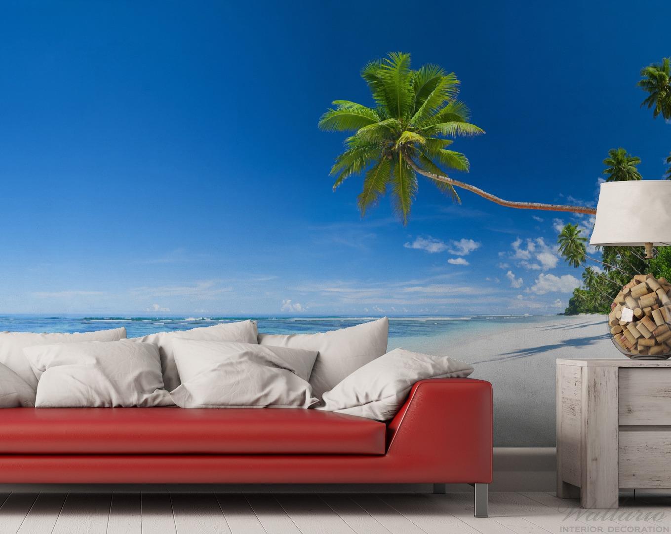 Vliestapete Weißer Sandstrand am Meer - Ein Traum unter Palmen – Bild 2