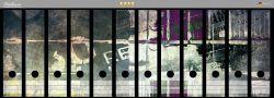Ordnerrücken Sticker Retro-Style lila-grau