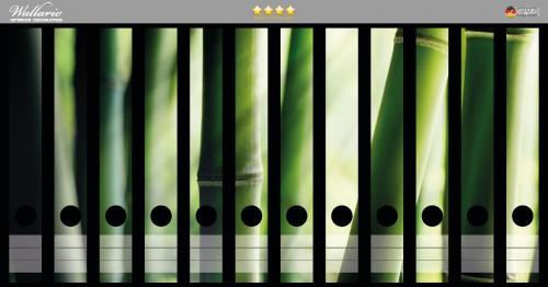 Ordnerrücken Sticker Bambuswald und Sonnenstrahlen
