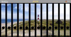 Ordnerrücken Sticker Am Strand von Sylt, Leuchtturm auf der Düne, Panorama