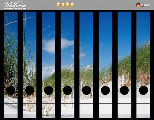 Ordnerrücken Sticker Düne am Strand unter blauem Himmel