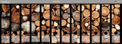 Ordnerrücken Sticker Dunkler Holzstapel rund