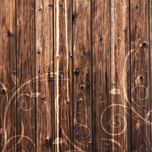 Möbelfolie Holz in dunkelbraun mit Blumenmuster - Schnörkel – Bild 3