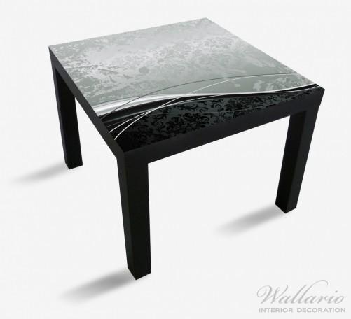 Möbelfolie Grau-schwarze Schnörkelei mit Wellen – Bild 1