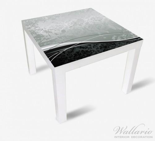 Möbelfolie Grau-schwarze Schnörkelei mit Wellen – Bild 2