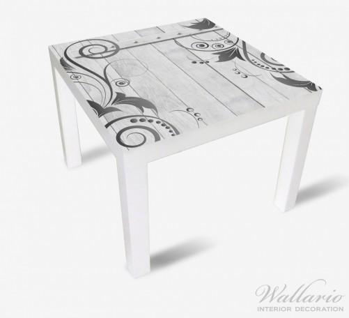 Möbelfolie Graue Holztür mit Schnörkelmuster – Bild 2