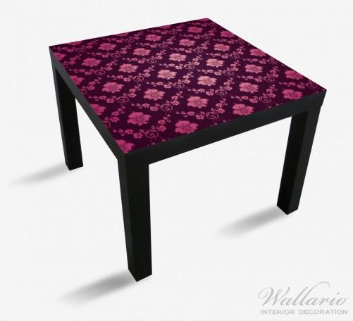 Möbelfolie Blumenmuster Damast in pink lila – Bild 1