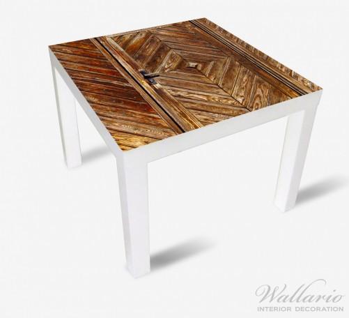 Möbelfolie Alte Holztür mit diagonalem Muster – Bild 2