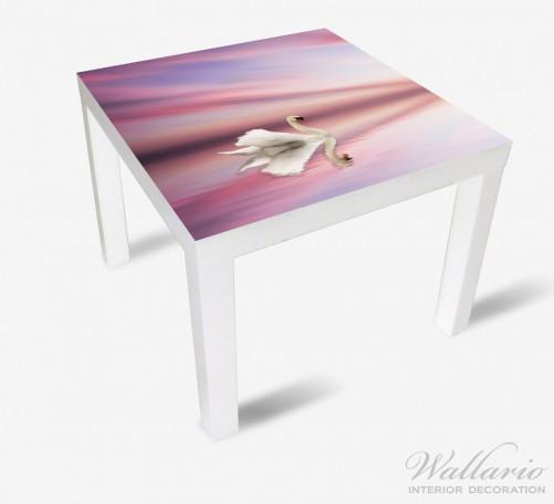 Möbelfolie Weißer Schwan im rosafarbenen See – Bild 2