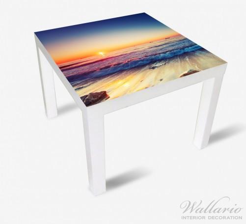 Möbelfolie Sonnenuntergang am Meer mit Wellen am Strand – Bild 2