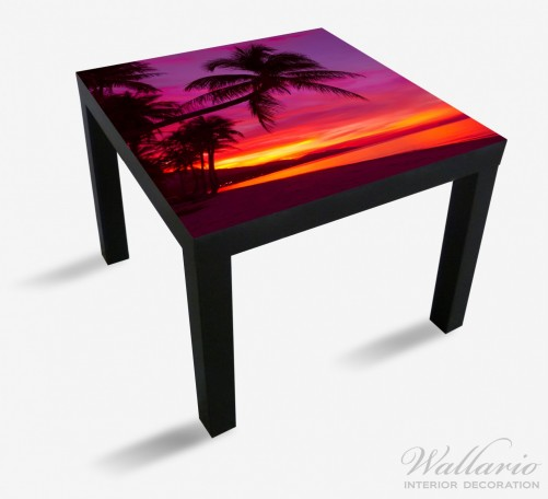 Möbelfolie Abendrot unter Palmen - pinker Himmel am Strand – Bild 1