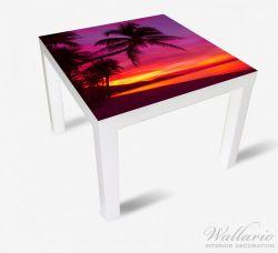 Möbelfolie Abendrot unter Palmen - pinker Himmel am Strand – Bild 2