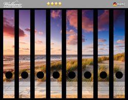 Ordnerrücken Sticker Abendspaziergang am Strand - Sonnenuntergang über dem Meer
