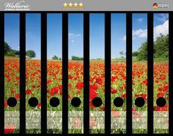 Ordnerrücken Sticker Mohnblumenfeld- rote Blumen unter blauem Himmel