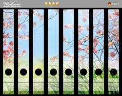 Ordnerrücken Sticker Kirschblütenzweige und grüne Wiese- Frühling