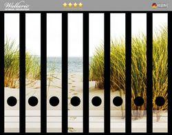Ordnerrücken Sticker Spuren im Sand- Fußspuren durch die Düne zum Meer