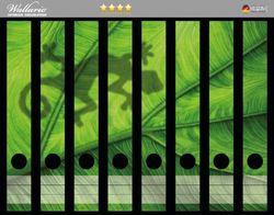 Ordnerrücken Sticker Gecko Schatten auf grünem Blatt - Umriss