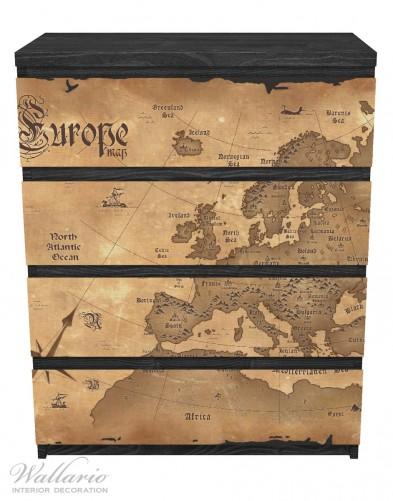Möbelfolie Alte Weltkarte,  Karte von Europa in englisch – Bild 1