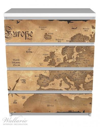 Möbelfolie Alte Weltkarte,  Karte von Europa in englisch – Bild 2