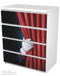 Möbelfolie Vorhang auf für die Show, Hand hinterm roten Vorhang – Bild 5