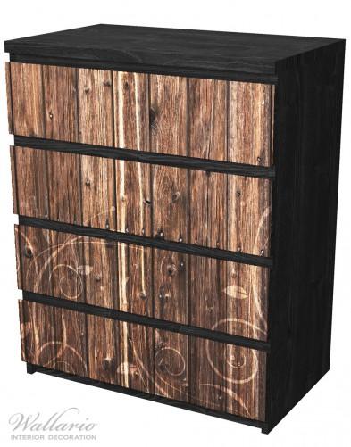 Möbelfolie Holz in dunkelbraun mit Blumenmuster - Schnörkel – Bild 4