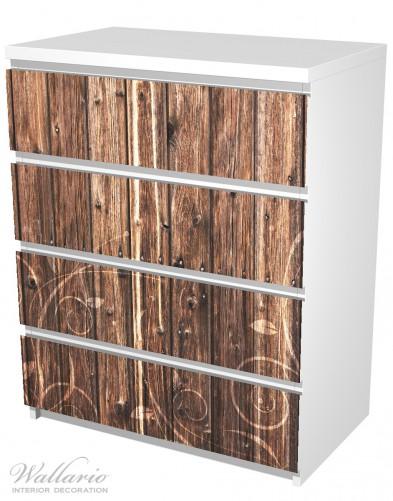 Möbelfolie Holz in dunkelbraun mit Blumenmuster - Schnörkel – Bild 5