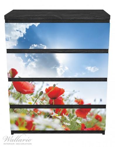 Möbelfolie Mohnblumen unter blauem Himmel – Bild 1